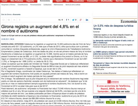 DIARIO DE GIRONA – Registra un augment del 4,8% en el nombre d´autònoms